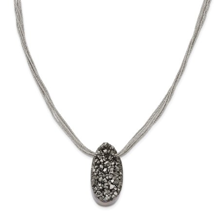 Sterling Silver Drusy Agate - Stainless Steel Druzy Agate Polyester Cord Pendant Necklace 17.5in