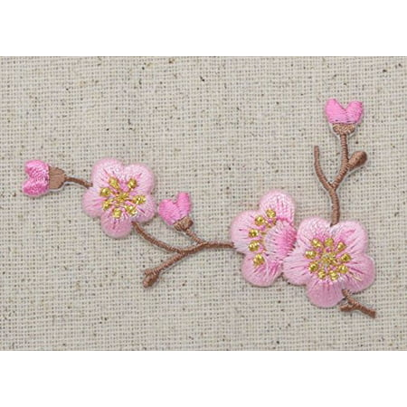 Iron Blossom (Cherry Blossom - Pink Flowers - Brown Stem - LEFT - Iron on Applique - Embroidered Patch)