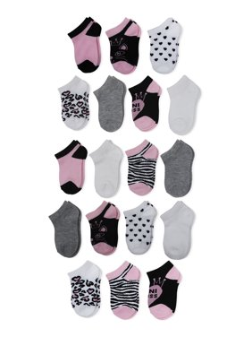 "Wonder Nation Toddler Girl ""No Show"" Socks, 18-pack"