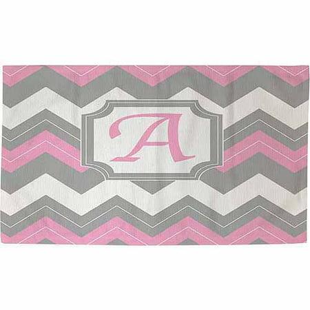 Thumbprintz Chevron Monogram Rug, Pink for $<!---->
