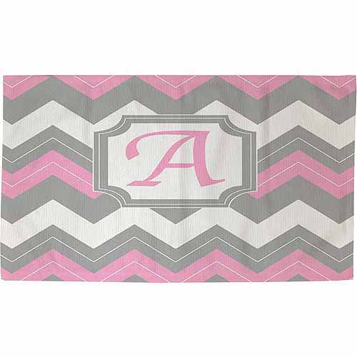 Thumbprintz Chevron Monogram Rug, Pink