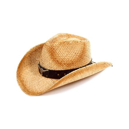 Kid's Cowgirl Straw Hat with Leather Band KST-013