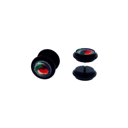 Stainless Steel Illusion 3D Cherry and Strawberry Hologram Plugs