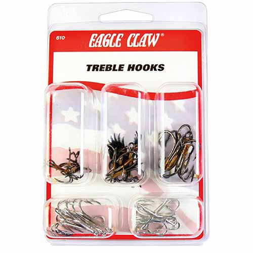 Eagle Claw Treble Hook, Assorted, 25Pc