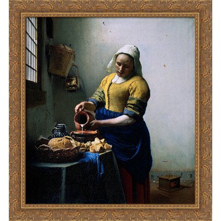 The Kitchen Maid 28x30 Large Gold Ornate Wood Framed Canvas Art by Johannes Vermeer