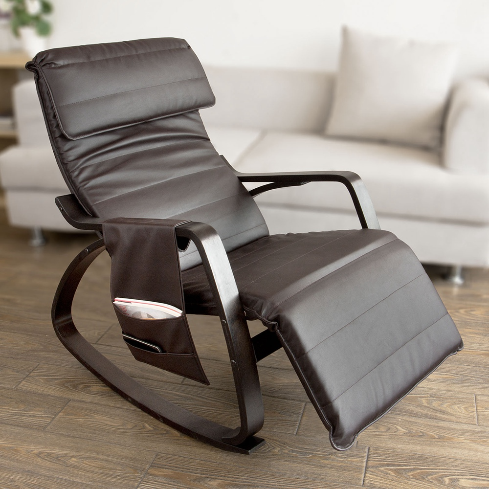 Haotian Comfortable Relax Rocking Chair with Foot Rest Design, Lounge Chair, Recliners Removable Side Bag,FST20-BR... by SoBuy