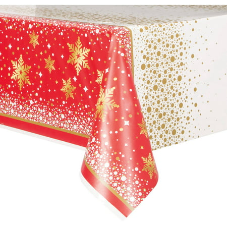 (2 pack) Plastic Gold Sparkle Christmas Table Cover, 84
