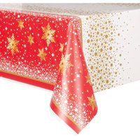 Gold Sparkle Christmas Plastic Party Tablecloth, 84 x 54in