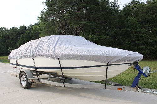 """New VORTEX 5 YEAR CANVAS HEAVY DUTY GREY GRAY VHULL FISH SKI RUNABOUT COVER FOR 19 to 20' FT BOAT, IDEAL FOR 96""""... by VORTEX DIRECT"""