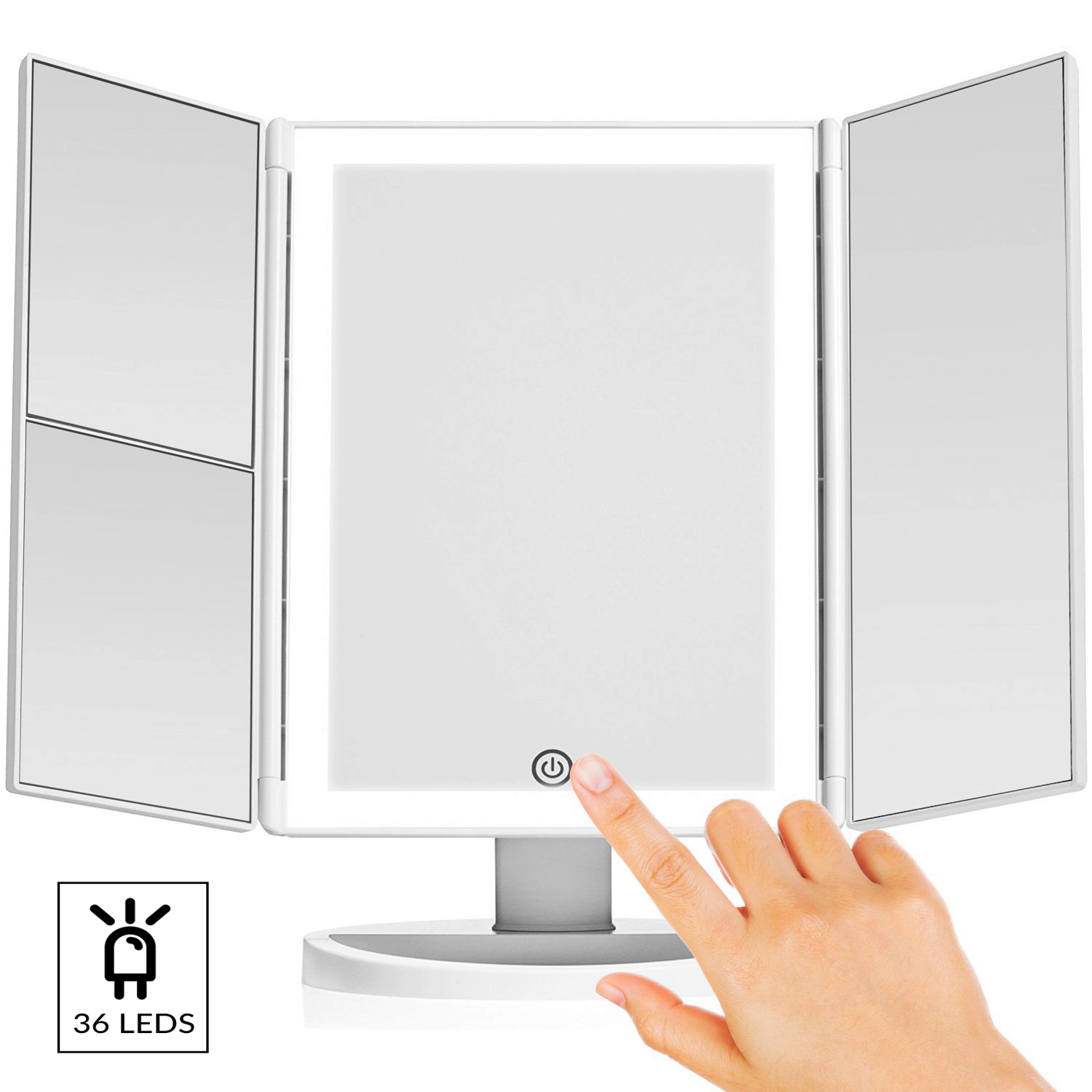 Vanity Makeup Mirror with (Upgraded) Anti-Glare & Natural LED Lighting Controlled by Smart Touch Screen Sensor Dual Power Supply & 3x, 2x Magnification For Details by LivingPro