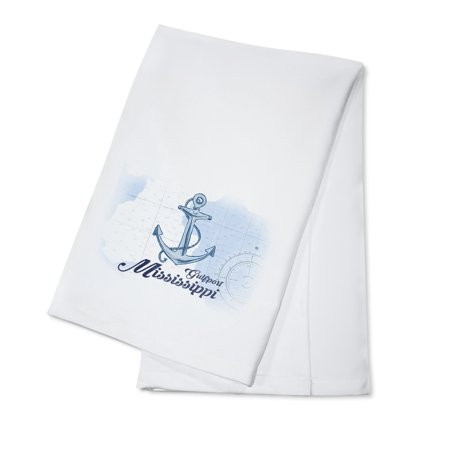 Gulfport  Mississippi   Anchor   Blue   Coastal Icon   Lantern Press Artwork  100  Cotton Kitchen Towel