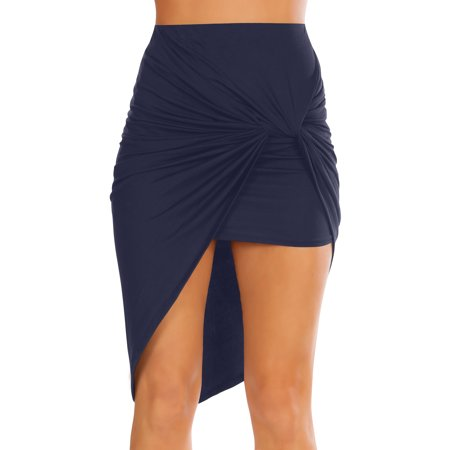 Womens Navy Drape Up Stretchy Asymmetrical High Low Short Mini Bodycon Pencil Skirt