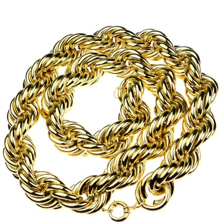 Huge Mens 14k Gold Plated Chain Hollow Rope Dookie 30MM Wide x 36