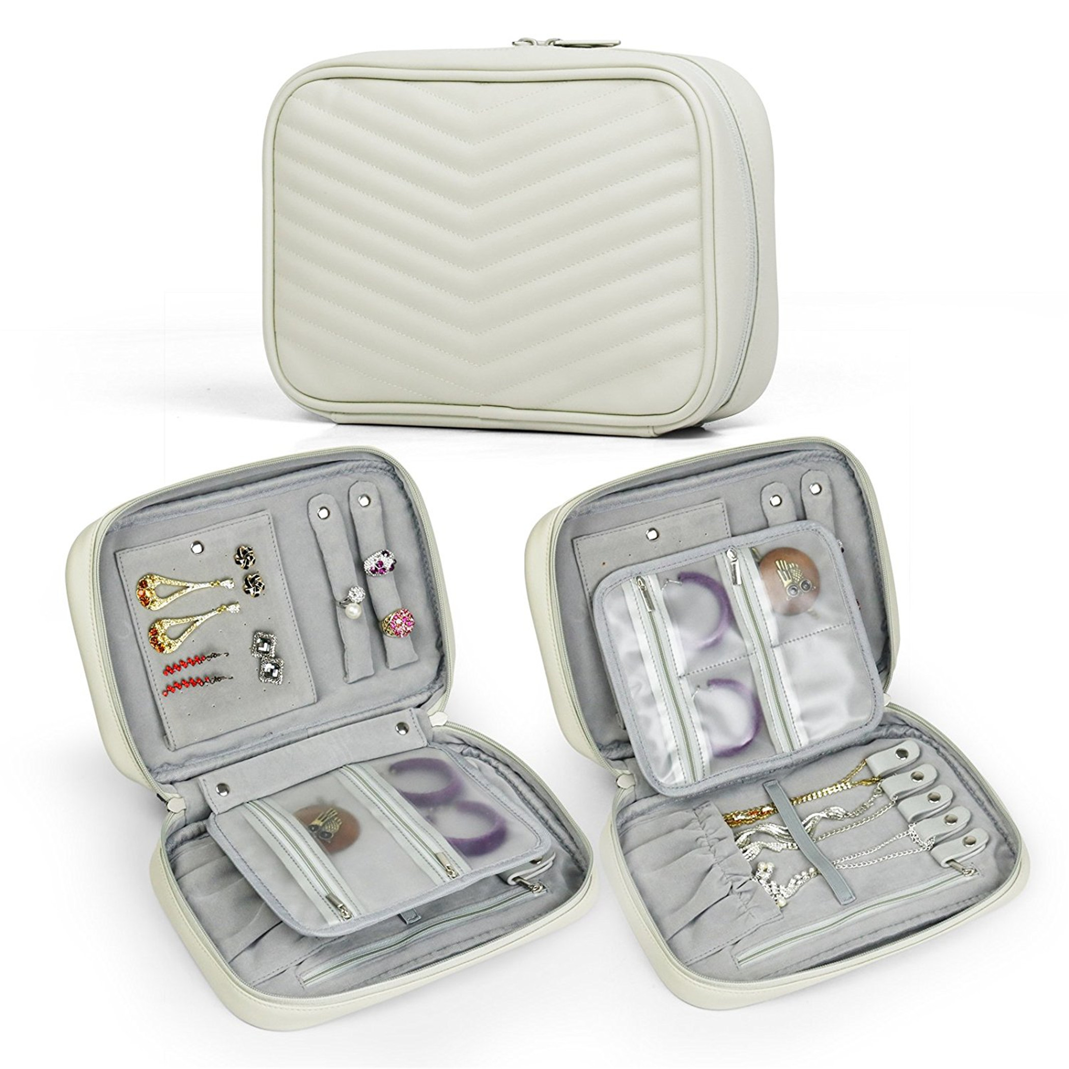 Becko Travel Jewelry Organizer Bag Case Roll Pouch (Creamy White) - Walmart.com