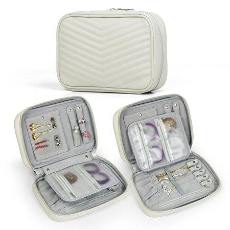 Becko Travel Jewelry Organizer Bag Case Roll Pouch (Creamy