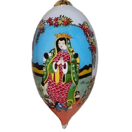 Lawrence Vargas Our Lady of Guadalupe Virgin Mary Reverse Painted Glass Ornament