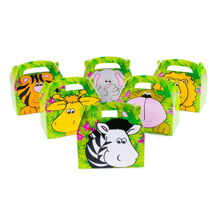 Safari Zoo Animals Treat Gift Boxes Birthday Party Favor Jungle Theme 12 Pack By Super Z Outlet