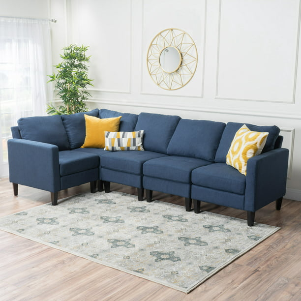 Noble House Fabric Sectional Couch,Dark Blue