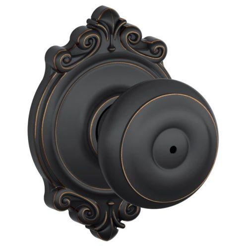 Knob Lockset,Mechanical,Privacy,Grd. 2 SCHLAGE F40 GEO 716 BRK