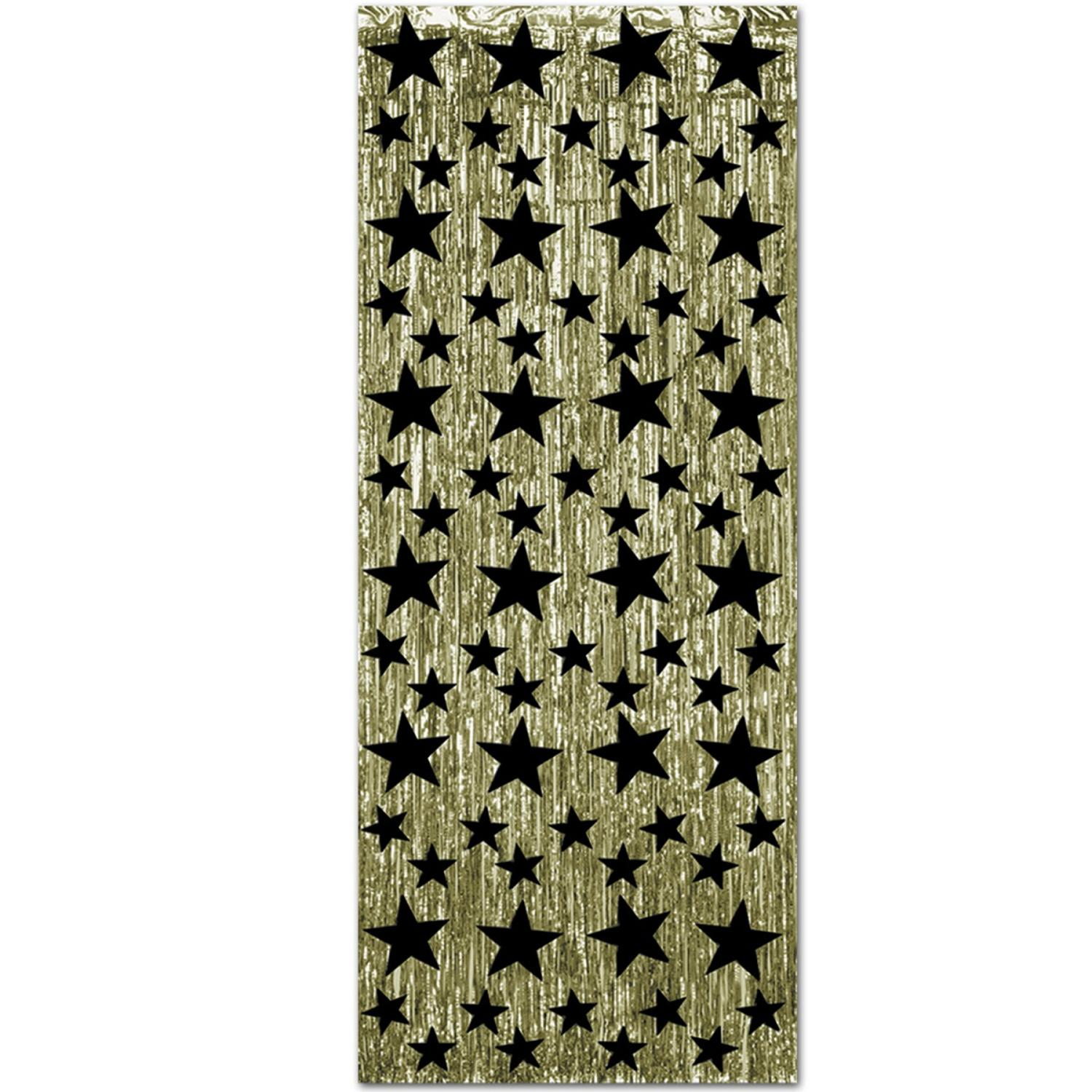 Pack of 6 Gold Decorative Black Star New Year Party Hanging Drapes