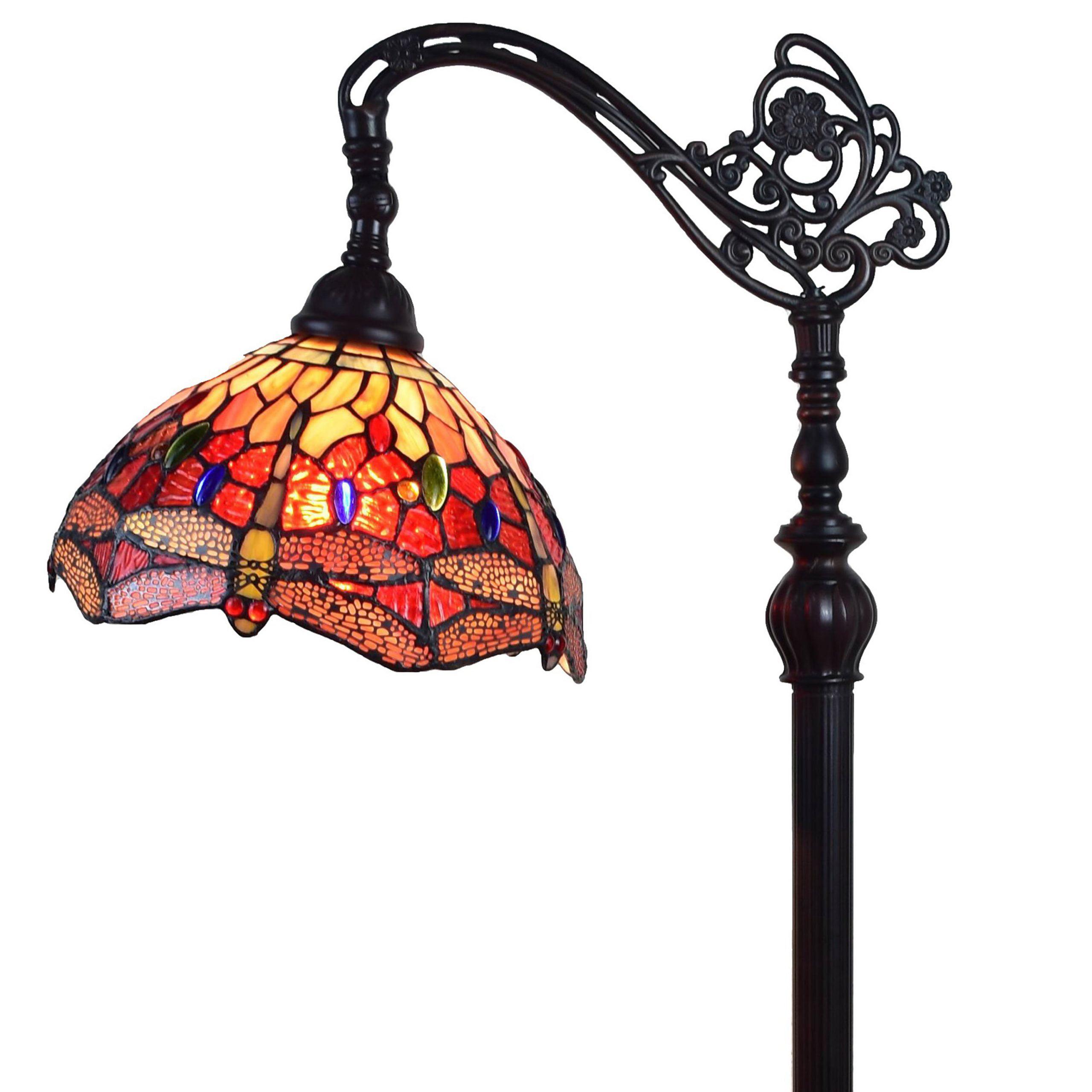 "Tiffany Style Dragonfly Reading Floor Lamp - 62"" Tall"