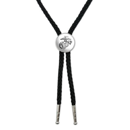 Marine Corps USMC Black White Eagle Globe Anchor Logo Officially Licensed Western Southwest Cowboy Necktie Bow Bolo Tie