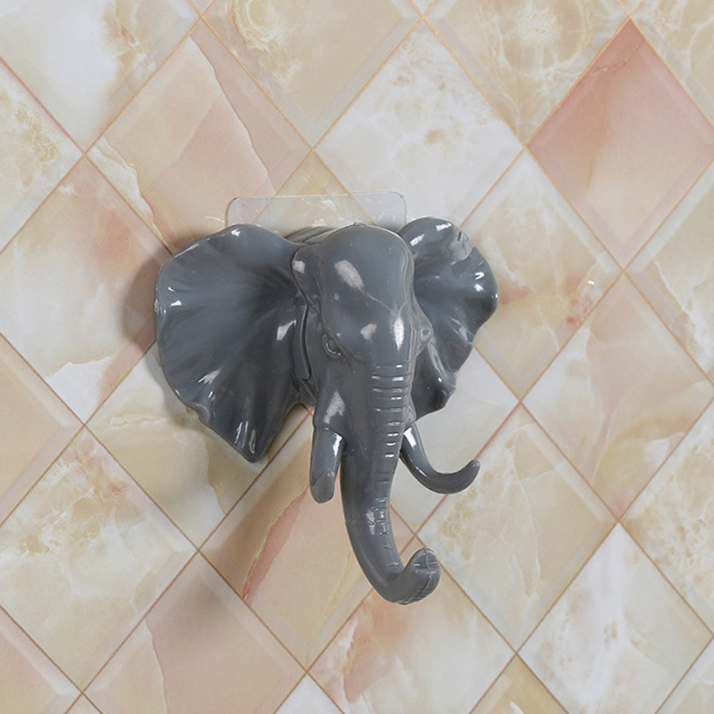 Mosunx Elephant Head Self Adhesive Wall Door Hook Hanger Bag Keys Sticky Holder