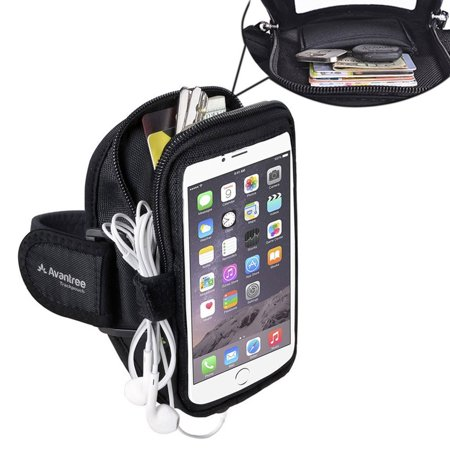 Sports Running Armband With Key Holder   Card Pouch  5 5 Inch For Iphone 6  6S Plus  Samsung Galaxy S6  S7  S7 Edge  Note 5  Google Nexus 6P  Etc  Black