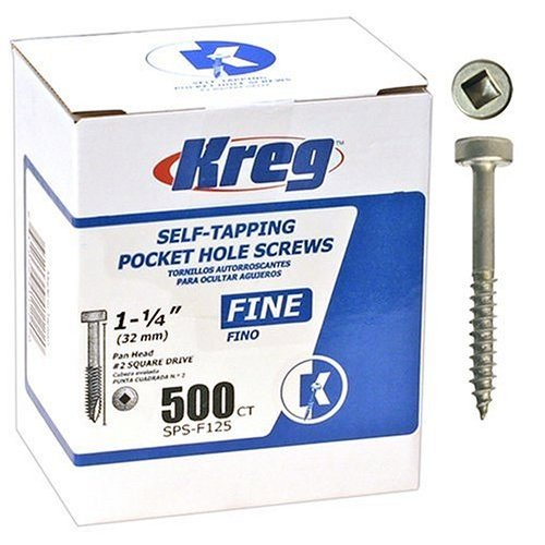 "Kreg SPS-F125 - 500 Pocket Screws - 1-1/4"", #6 Fine, Pan-Head, 500ct"