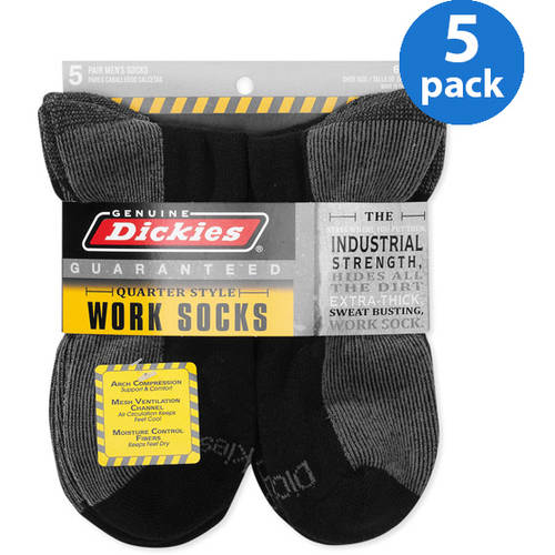 Dickies - Men's Dri-Tech Comfort Quarter Work Socks, 5-Pack