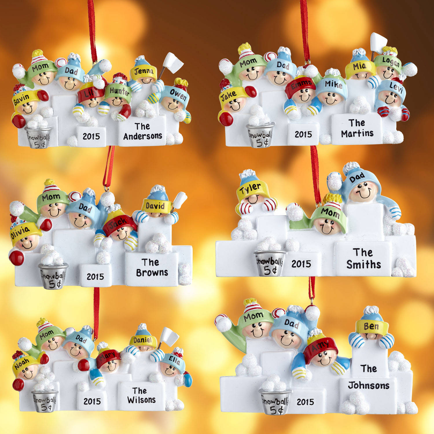 Personalized Family Snowball Fight Ornament