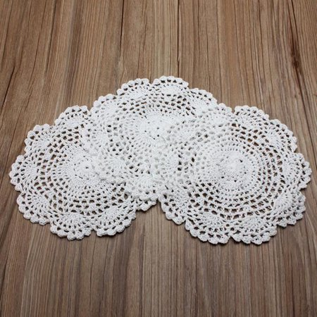20cm Handmade Crochet Cotton Round Cup Mat Hollow Out Flower Cup Pads Decorations - image 2 of 4