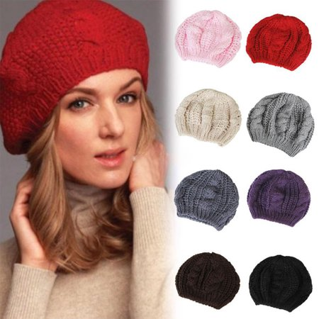 Moderna Women's Beret Solid Color Baggy Knit Crochet Beanie Hat Winter Warm Ski (Rose Top Cap)