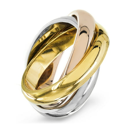 Stainless Steel Tri-Tone Interconnected Links Ring