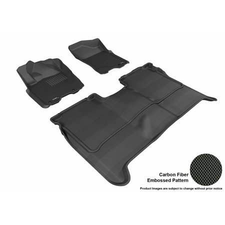 3D MAXpider 2004-2015 Nissan Titan Crew Cab Front & Second Row Set All Weather Floor Liners in Black with Carbon Fiber Look Cab Black Front Floor Liners