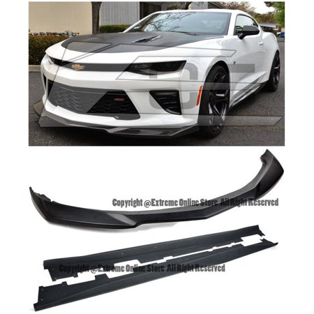 For 2016-2018 Chevrolet Camaro SS | ZL1 Style Front Bumper Lip Splitter With Side Skirts Rocker Panel Pair (ABS Plastic - Primer Black)