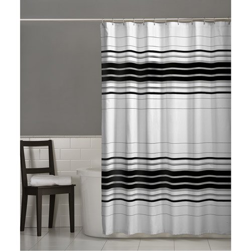Maytex Racer Stripe Fabric Shower Curtain, Black - Walmart.com