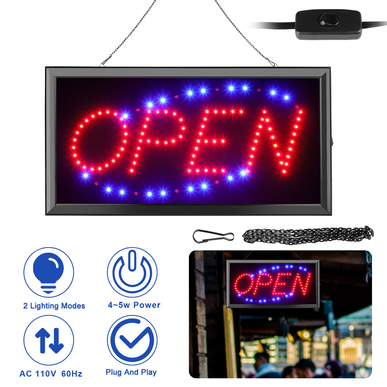 LED Business Open Sign Include Business Hours Sign Advertisement Board Electric Display Sign,19 X 10 Inch DK/_SJ Open LED Sign