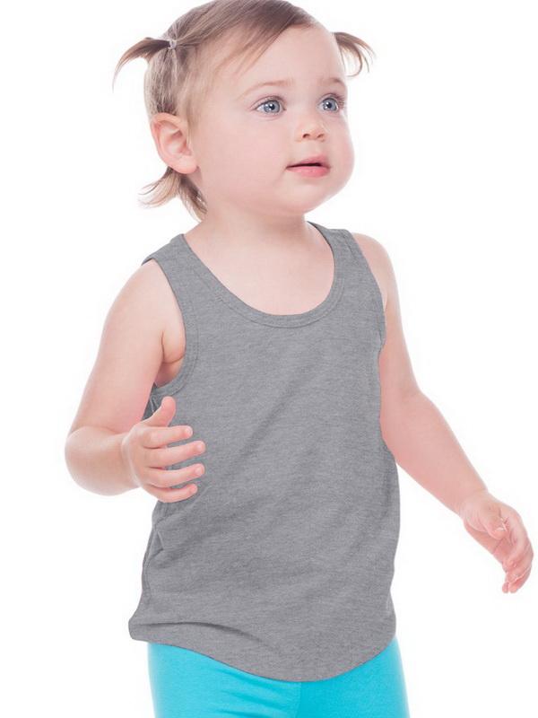 Kavio IJP0661 Infants Sheer Jersey Tank-Dark Heather Gray-6M