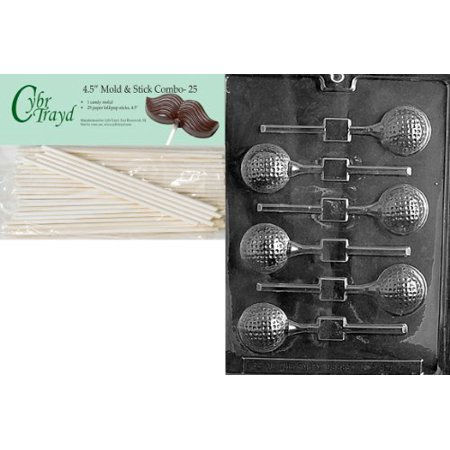 Cybrtrayd 45St25-S071 Golf Ball Lolly Sports Chocolate Candy Mold with 25-Pack 4.5-Inch Lollipop Sticks - Sport Candy