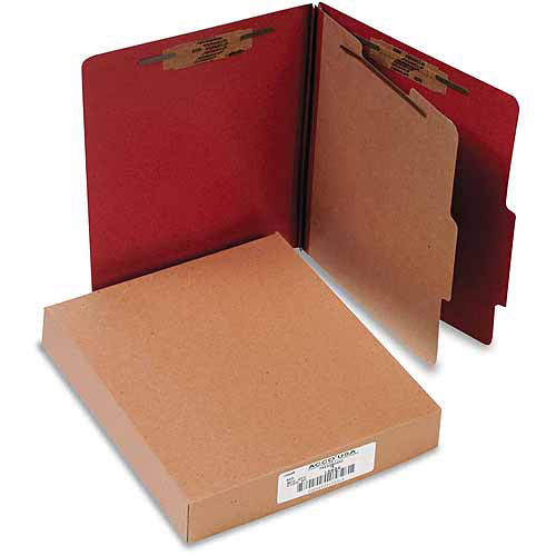 ACCO 25-Point Pressboard Classification Folders, Letter, 4-Section, Earth Red, 10-Pack