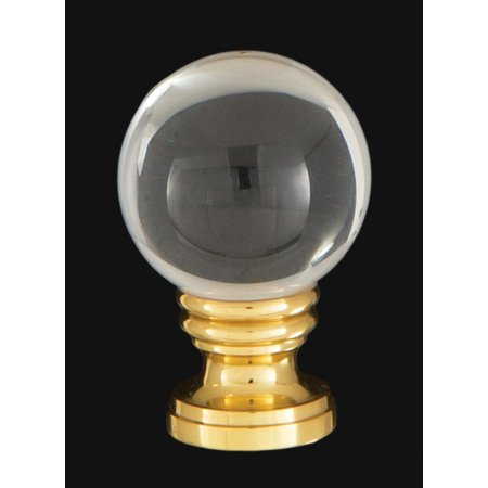 Smooth Pineapple Finials - B&P Lamp® Smooth Crystal Design, 30mm Ball Finial, Solid Brass Brass Base