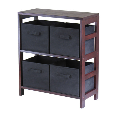 Winsome Leo 2-Section Wide Storage Shelf with 4 Foldable Beige Fabric Baskets
