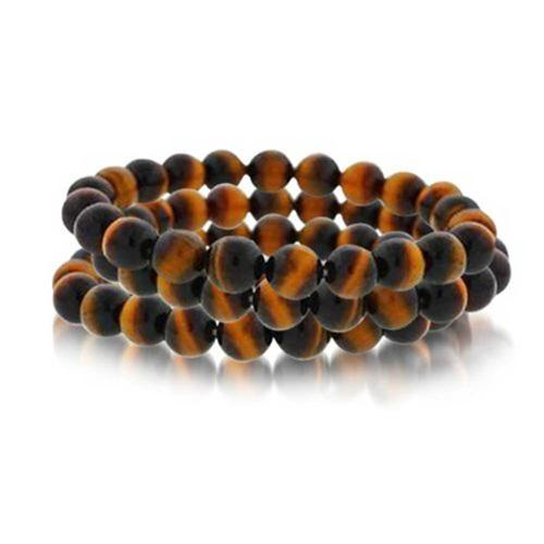 Bling Jewelry Set of 3 Stackable Simulated Tiger Eye Gemstone Bead Stretch Bracelet 8mm