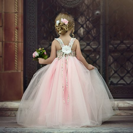Flower Girls Dress Lace Princess Party Wedding Bridesmaid Dress Long Sundress Hot Sale - image 4 of 5