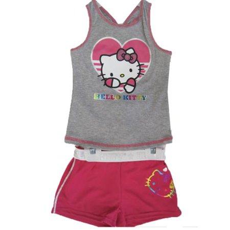 Hello Kitty Little Girls Grey Fuchsia Studded 2 Pc Shorts Set 4-6X