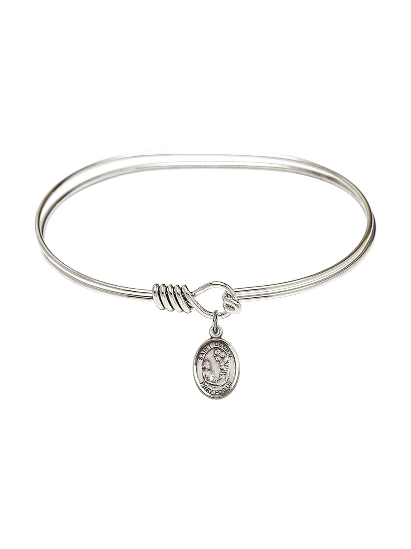 Bonyak Jewelry Round Eye Hook Bangle Bracelet w//St Cecilia in Sterling Silver