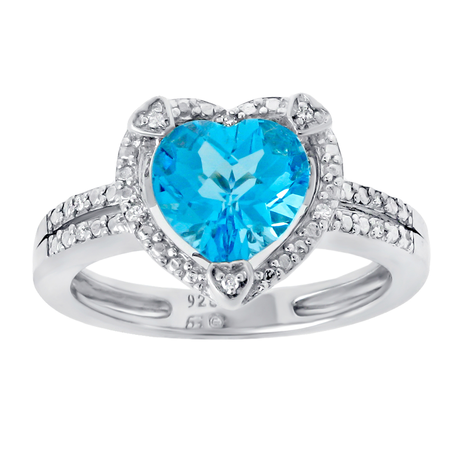 2.20 Ct Heart Natural Blue Topaz Diamond Accent 925 Sterling Silver Ring