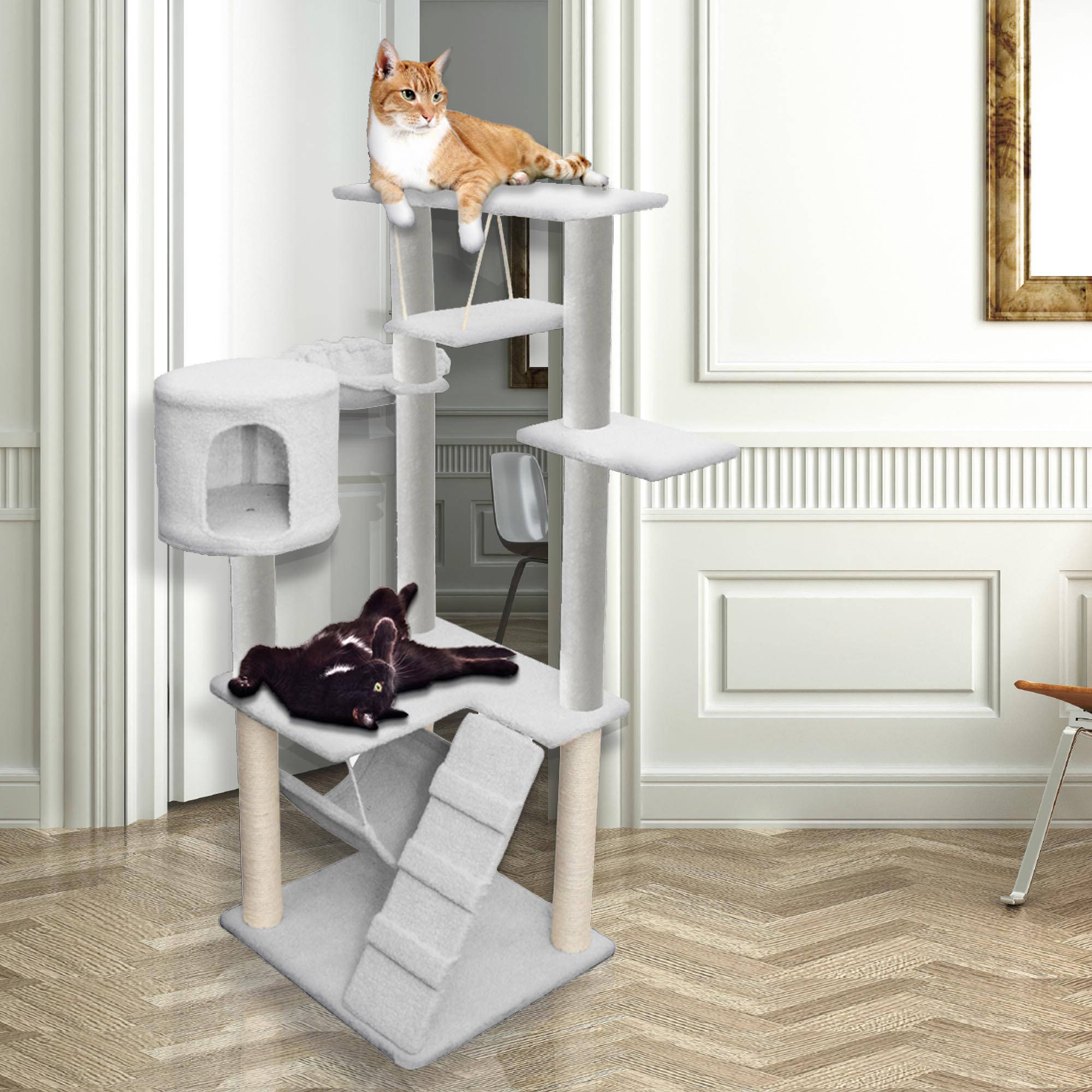 "Premium Cat Tree Tower Condo Scratch Furniture, 54"", White"