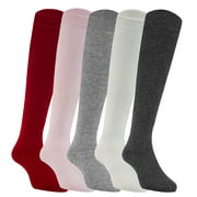 Lian LifeStyle Girl's 5 Pairs Fashion Knee High Cotton Socks JH0505 Size 1Y-2Y(Assorted)